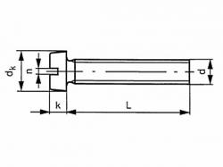 Šroub válcová hlava - drážka DIN 84 M6x8