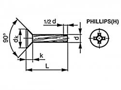Šroub závitořezný záp.phillips DIN 7516D M4x20 pozink