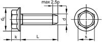 Šroub závitotvorný šestihran s límcem DIN 7500D M5x20 pozink