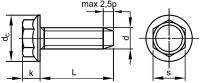 Šroub závitotvorný šestihran s límcem DIN 7500D M6x30 pozink