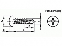 Šroub TEX phillips DIN 7504N 3,9x16 pozink