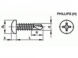 Šroub TEX phillips DIN 7504N 3,9x22 pozink
