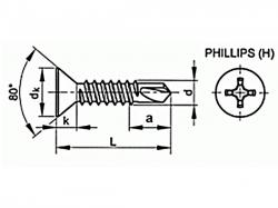 Šroub TEX zápustný phillips DIN 7504P 4,8x80 pozink