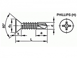 Šroub TEX zápustný phillips DIN 7504P 6,3x22 pozink