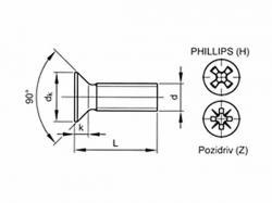 Šroub zápustný phillips DIN 965 M8x20 nerez A2
