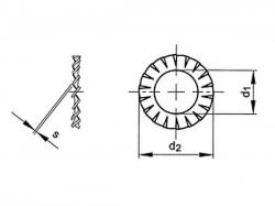 Podložka vějířová vnější DIN 6798A M5 / 5,3 nerez A2