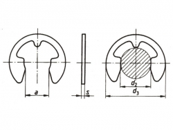 Pojistný kroužek třmenový DIN 6799 - 15 nerez A1