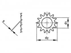 Podložka s vnějším ozubením DIN 6797A M14 / 15,0