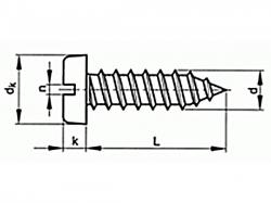 Šroub samořezný s drážkou DIN 7971C 3,9x6,5 pozink