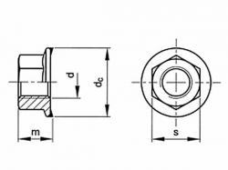 Matice s límcem ozubeným DIN 6923 M6 nerez A2