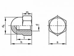 Matice klobouková DIN 1587 M4 nerez A2