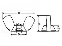 Matice křídlová DIN 315A M4 nerez A2