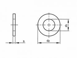 Podložka plochá pod válcovou hlavu DIN 433 M6 / 6,4 nerez A2