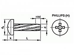 Šroub závitořezný phillips DIN 7516A M4x8 pozink