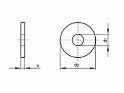 Podložka pod nýty DIN 9021 M10 / 10,5 nerez A2