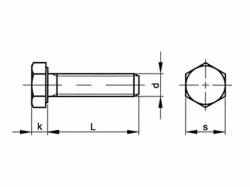 Šroub šestihranný celý závit DIN 933 M7x12-8.8 bez PÚ