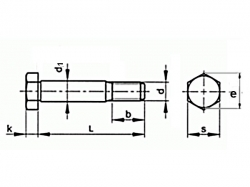 Šroub lícovaný krátký závit DIN 610 M16x50-8.8 bez PÚ