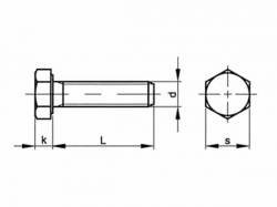 Šroub šestihranný celý závit DIN 933 M16x70-8.8 žárový pozink