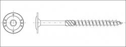 Vrut konstrukční talířová hlava TORX30 6,0x200 zinek žlutý