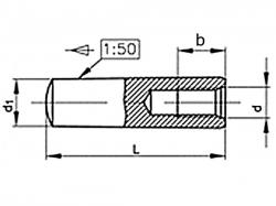 Kolík kuželový vnitřní závit DIN 7978 6x50