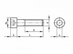 Šroub válcová hlava - inbus DIN 912 M4x75-8.8