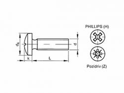 Šroub s drážkou Phillips DIN 7985 M2,5x16 pozink
