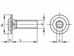 Šroub inbus půlkulatý s límcem ISO 7380FL M3x20-10.9