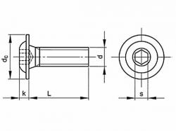 Šroub inbus půlkulatý s límcem ISO 7380FL M4x6-10.9