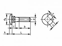 Šroub vratový DIN 603 M8x70 4.6 pozink