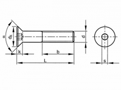 Šroub zápustný inbus DIN 7991 M6x80-10.9