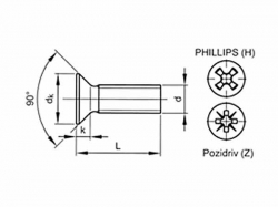Šroub zápustný phillips DIN 965 M5x55 pozink