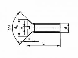 Šroub zápustný s drážkou   DIN 963 M3x60 pozink