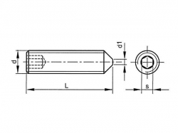 Šroub stavěcí s hrotem-inbus DIN 914 M3x6