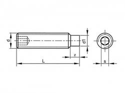 Šroub stavěcí s čípkem-inbus DIN 915 M4x20
