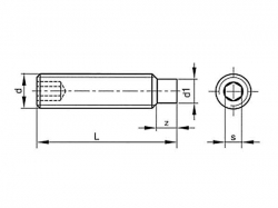 Šroub stavěcí s čípkem-inbus DIN 915 M4x25
