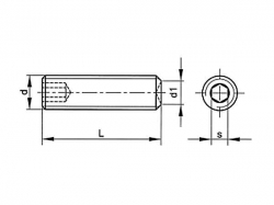 Šroub stavěcí s důlkem-inbus DIN 916 M4x5