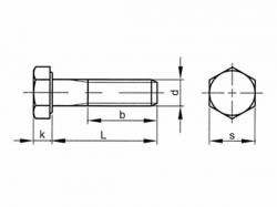 Šroub šestihranný částečný závit DIN 960 M12x1,25x70-8.8