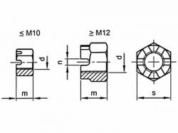 Matice korunková DIN 935 M10x1,00 |08|