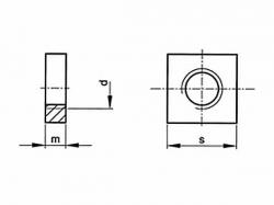 Matice čtyřhranná nízká DIN 562 M4 pozink