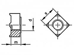 Matice pro přivaření čtyřhranná DIN 928 M4