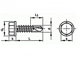 Šroub TEX šestihranná hlava DIN 7504K 6,3x45 pozink