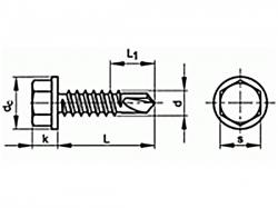Šroub TEX šestihranná hlava DIN 7504K 6,3x140 pozink