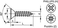 Šroub samořezný záp.phillips DIN 7982C 2,9x6,5 pozink