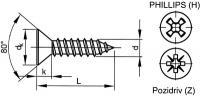 Šroub samořezný záp.phillips DIN 7982C 2,9x22 pozink